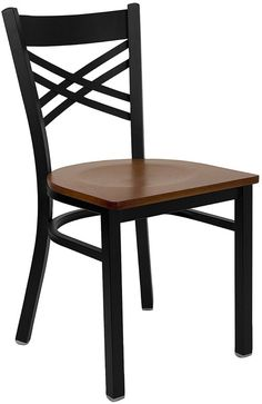 HERCULES Series Black ''X'' Back Metal Restaurant Chair with Cherry Wood Seat XU-6FOBXBK-CHYW-GG by Flash Furniture