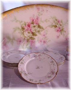 6 ANTIQUE HAVILAND LIMOGES FRANCE 9-3/4'' DINNER PLATES PINK ROSES GOLD