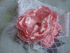Shabby Chic Headband Pink and Gray Headband by AldonasBoutique,