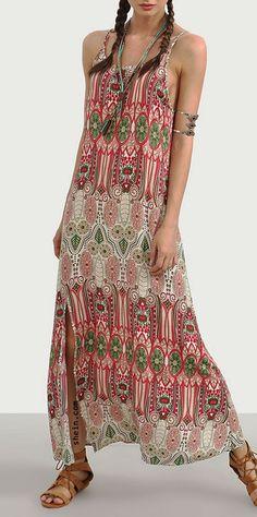 Vintage Print Spaghetti Strap Split Maxi Dress. Sign up for 40% off.