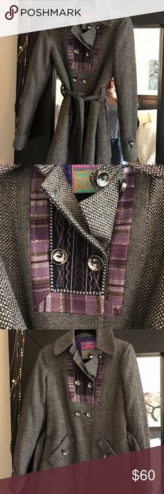 Custo Barcelona coat with purple boho detail. Custo Barcelona Tweed coat with purple boho detailing.  Size 38 ( US 2 or 4).  Excellent preowned condition. Custo Barcelona Jackets & Coats