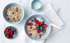 Oppskrift: Byggrynsgrøt Granola, Cereal, Oatmeal, Protein, Food And Drink, Gluten, Breakfast, The Oatmeal, Morning Coffee