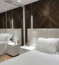 Contraste com revestimento na parede do quarto simples
