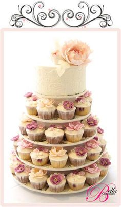 Cupcake Tower- love that theres also a cake top for the first slice moment!