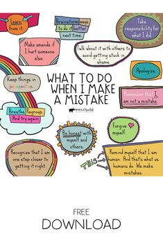 This free Social Emotional Learning (SEL) Growth Mindset Poster reminds us of pro-active steps to take when we make a mistake. Use this in your counseling office, classroom, or at home. Growth Mindset Posters, Growth Mindset Lessons, Growth Mindset For Kids, Growth Mindset Classroom, Growth Mindset Activities, School Social Work, Social Emotional Learning, School Psychology, Coping Skills