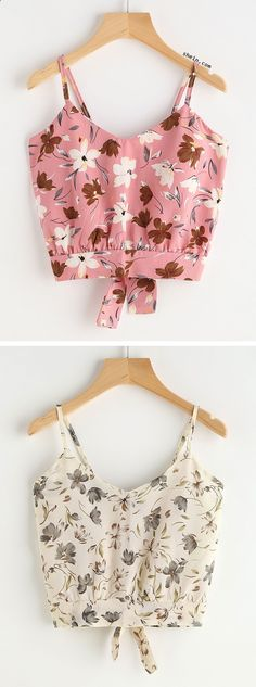 Calico Print Knot Back Cami Top - tilda Summer Fashion For Teens, Outfits For Teens, Casual Outfits, Cute Outfits, Girls Fashion Clothes, Teen Fashion, Fashion Outfits, Clothes For Women, Cute Crop Tops