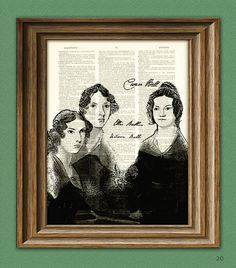Bronte Sisters Print Anne, Emily, and Charlotte Poet writers illustration upcycled dictionary page book art print Brontë Canvas Wall Art, Wall Art Prints, Canvas Prints, Bronte Sisters, Sisters Book, Or Antique, Book Art, Art Projects, Artsy