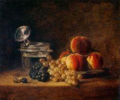 Jean-Siméon Chardin, Le Panier de pêches, raisin blanc et noir, avec rafraîchissoir et verre à pied, 1759, salon de 1759