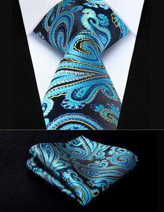 "TP933B8S Blue Yellow Paisley 3.4"" Silk Woven Men Tie Necktie Handkerchief Set Party Wedding Classic Pocket Square Tie"