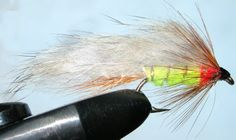 Rabbit Fluoro flame&green trout fly