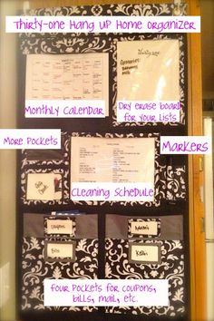thirtyone hang up home organizer-Mine looks a lot like this, but I have mail and bills and menus as well.  It's in my kitchen, it's focal and very well loved!