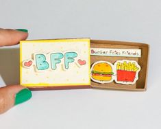 """Cute Friendship Card Matchbox/ Gift box/ """"Good Friends are like Stars""""/ Funny Girlfriend Card / Funny Friendship Card for Foodies, Food Lovers / Cute Friendship Card / Matchbox / Gift Box / BFF Burger Frieces Friends / Best Friend Cards, Cards For Friends, Best Friend Gifts, Gifts For Friends, Matchbox Crafts, Matchbox Art, Diy Birthday, Friend Birthday, Birthday Gifts"""