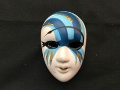 Ceramic Brooch Mask – White with Blue Paint - Masks, Brooch, Ceramics, Face, Painting, Ceramica, Pottery, Brooches, Painting Art