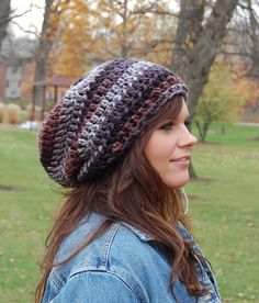 660266fd10201 Chunky Slouchy Hat, Cool Crochet Hats for Men or Women from Midwest Crochet,  Mixed Colors Slouchy Beanie