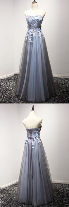 Cute gray tulle long prom dress for teens