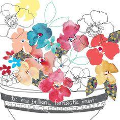 Fin kontrast mellom strek-blomstene og  med farger.  mother's day card by stop the clock via print & pattern