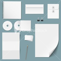 Vector Set Of Design Corporate Templates Stock Image - Mock Ups for Brand Collateral and Design