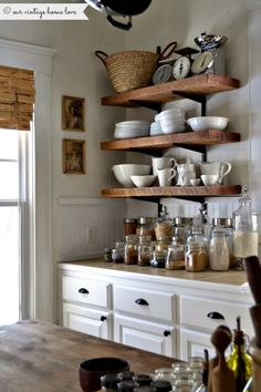 Simple, Open Shelving - inexpensive way to add storage and character to your kitchen - our vintage home love