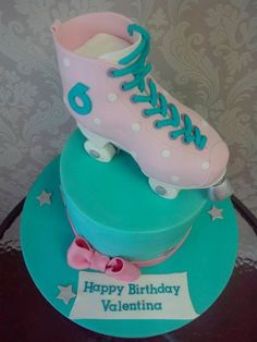 Roller Skate Cake Dear Mel Thank you so so much for the Amazingly beautiful & delicious cake you created for Valentina. She absolutely loved it & so did all the 30 or so mum's that were at the party. Will spread the word & Friends have. 50th Birthday, Birthday Ideas, Happy Birthday, Birthday Cake, Roller Skating Party, Skate Party, Roller Skate Cake, Disco Party, Yummy Cakes