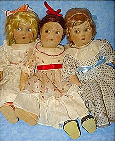 Amy, Meg and Beth Madame Alexandre dolls from the 1930's (there is no Beth)