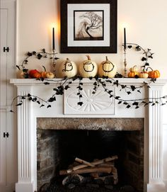 Channel greetings from beyond the grave by finding three white pumpkins similar in size that will fit on the width of your mantel. Use a washable marker to draw out the letters B-O-O on the pumpkins. #halloween