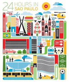 24 hours in Sao Paulo brazil illustration -Fernando Volken Togni for Qatar Airlines inflight magazine Brazil Art, Chic Type, Brazil Travel, Brazil Vacation, City Illustration, Art Plastique, Belle Photo, Travel Posters, Pixel Art