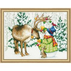 Dimensions® Ornamental Reindeer Counted Cross-Stitch Kit - Herrschners #snowman