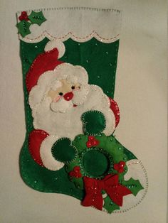 This is a Bucilla Handmade Christmas Stocking. Stocking includes hand stitching, beading, and sequins. 18 Long Free Personalization Please indicate when ordering the following - NAME to be used COLOR of thread BLOCK or SCRIPT lettering Will ship completely assembled and ready to hang on