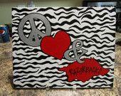 Arkansas Razorback Peace & Love Wood Block. $35.00, via Etsy.