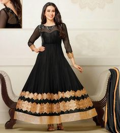 USD 33.51 Karisma Kapoor Black Net Anarkali Suit 54530