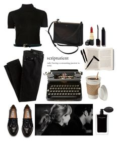 """""""A Writer's Workflow."""" by sweetlikecinnamonnn ❤ liked on Polyvore featuring Steve Madden, J.Crew, CÉLINE, Narciso Rodriguez, Rosetta Getty, Warehouse, Chanel, Serge Lutens and Montblanc"""