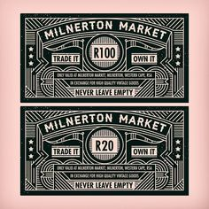 Milnerton Market. Trade it own it!  We designed these vouchers for one of our staff's birthday gifts. He's a full time Milnerton market trawler. They're totally worthless and unusable of course but they look alright #voucher #design #market #muti by studiomuti