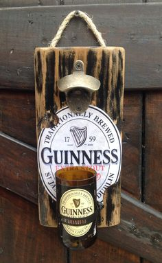Guinness Beer bottle wall opener by GlassNthings420 on Etsy