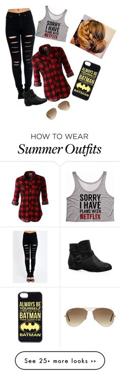 """""""bae!!!"""" by jadeprettygeek on Polyvore featuring Calle, LE3NO, Avenue and Ray-Ban"""