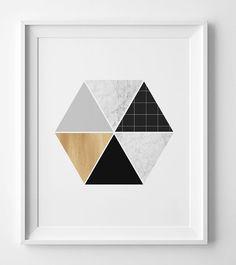 Hexagon print, geometric wall art print, printable art, Scandinavian print, modern art, abstract wall art geometric print affiche scandinave by WallArtPrintables on Etsy https://www.etsy.com/listing/258784028/hexagon-print-geometric-wall-art-print