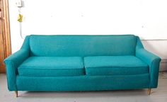 Mid Century Modern Teal / Turquoise Sofa Couch Loveseat - 50s 60s Retro Mod. $695.00, via Etsy.