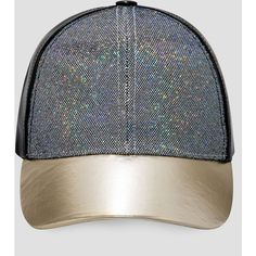 Ashley Stewart Faux Leather Glitter Baseball Cap (£13) ❤ liked on Polyvore  featuring accessories ad53cfffb307