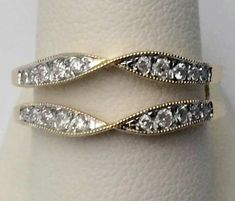14k Yellow Gold Vintage Milgraine Solitaire Enhancer Diamond Ring Guard Wrap (0.25ct. tw) by RG&D