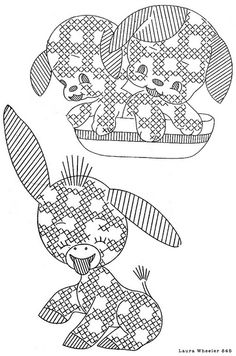 Gingham Donkey & Puppies - Laura Wheeler 845 by L.A. from L.A., via Flickr