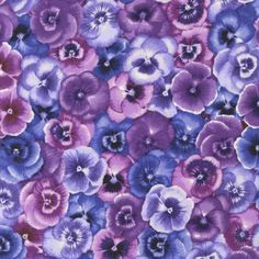 Pretty as a Pansy Kaufman Fabrics MyBet Daffodil Flower, Cactus Flower, Flower Art, Exotic Flowers, Purple Flowers, Pattern Paper, Pattern Art, Peonies Garden, Flowers Garden