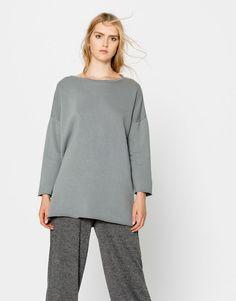 Pull&Bear - mujer - ropa - sudaderas - sudadera oversize básica - gris azul - 09590379-I2016