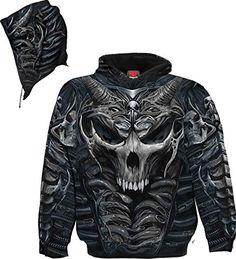 squelette//Crânes//Motard//dark wear//Pullover//Sweat à capuche Spiral Direct Crâne Armour à capuche