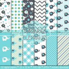 """Elephant digital paper: """"TURQUOISE ELEPHANTS"""" with elephants, polka dots, stripes, gingham, chevrons in turquoise"""