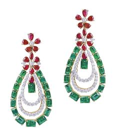 Farah Khan earrings in 18ct yellow gold with 20.58ct Gemfields Zambian emeralds and and 9.05ct Gemfields Mozambican rubies.