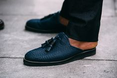 Christian Louboutin Youssefo raffia backless loafers.
