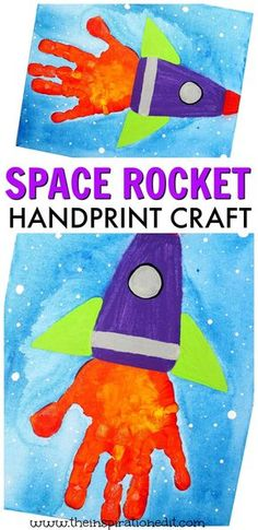 f you're looking for a fun handprint canvas idea then look no further. We have this super fun rocket craft activity for preschool or kindergarten kids and it's one easy preschool art idea the children will love! This space rocket craft idea uses very few