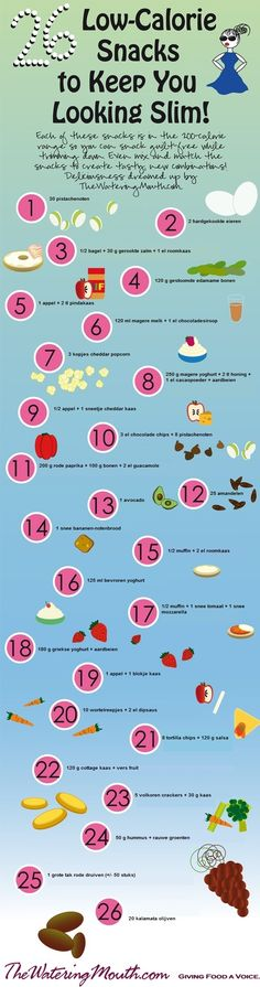 26 snacks met weinig calorieën