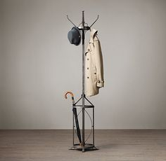 "vintage factory coat stand. #restorationhardware / 17"" diam., 79""H Weight: 36.4 lbs."