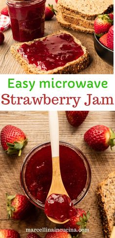 This easy microwave strawberry jam uses just 3 ingredients. Homemade strawberry jam is like summer in a bottle! Homemade Strawberry Jam, Strawberry Recipes, Scones And Jam, Summer In A Bottle, Food Words, Little Kitchen, Frozen Strawberries, 3 Ingredients, Vegan Gluten Free