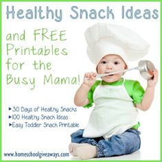 Tons of healthy snack ideas for babies and toddlers with printables!